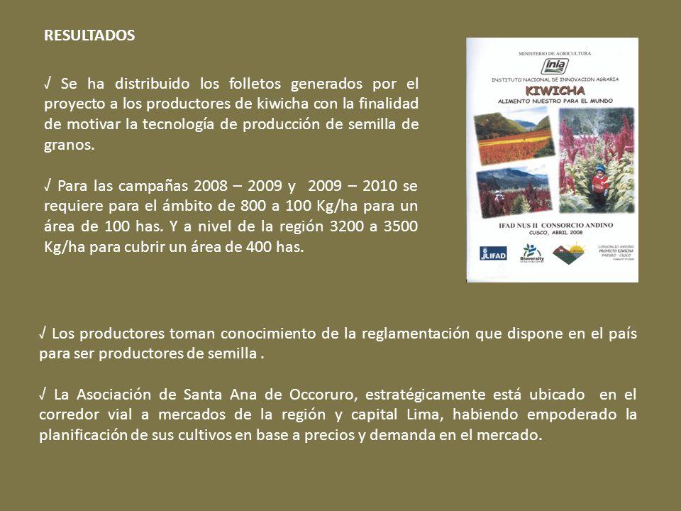 RESULTADOS Los productores toman conocimiento de la reglamentación que dispone en el país para ser productores de semilla. La Asociación de Santa Ana