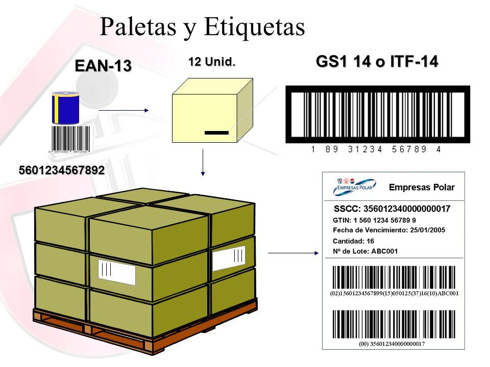 5601234567892 EAN-13 GS1 14 o ITF-14 12 Unid. Paletas y Etiquetas