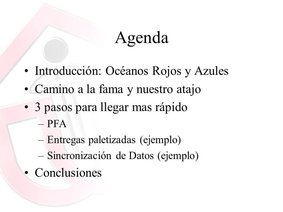 Agenda Introducción: Océanos Rojos y Azules Camino a la fama y nuestro atajo 3 pasos para llegar mas rápido –PFA –Entregas paletizadas (ejemplo) –Sinc