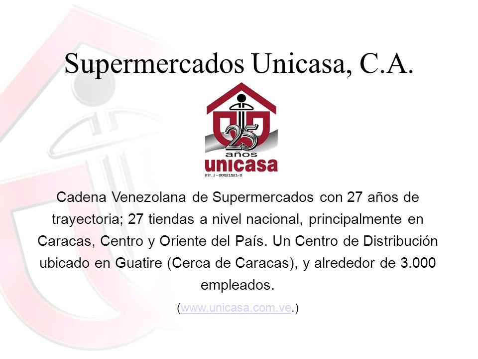 Supermercados Unicasa, C.A. Cadena Venezolana de Supermercados con 27 años de trayectoria; 27 tiendas a nivel nacional, principalmente en Caracas, Cen