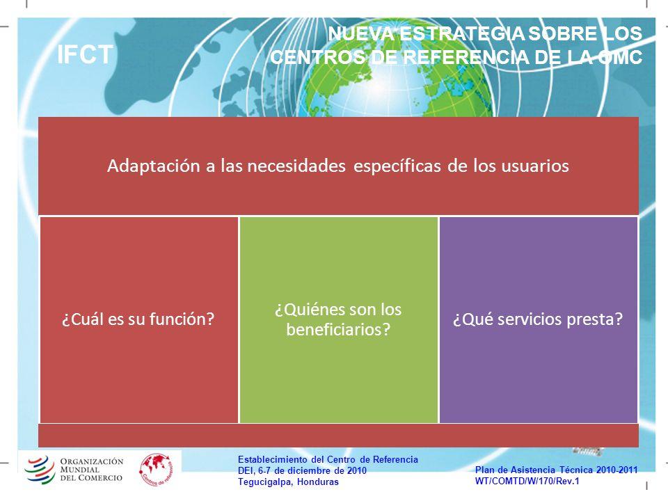 Establecimiento del Centro de Referencia DEI, 6-7 de diciembre de 2010 Tegucigalpa, Honduras Plan de Asistencia Técnica 2010-2011 WT/COMTD/W/170/Rev.1 IFCT NUEVA ESTRATEGIA SOBRE LOS CENTROS DE REFERENCIA DE LA OMC Adaptación a las necesidades específicas de los usuarios ¿Cuál es su función.