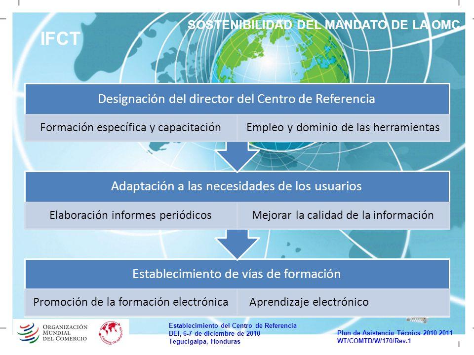 Establecimiento del Centro de Referencia DEI, 6-7 de diciembre de 2010 Tegucigalpa, Honduras Plan de Asistencia Técnica 2010-2011 WT/COMTD/W/170/Rev.1 IFCT SOSTENIBILIDAD DEL MANDATO DE LA OMC Establecimiento de vías de formación Promoción de la formación electrónica Aprendizaje electrónico Adaptación a las necesidades de los usuarios Elaboración informes periódicosMejorar la calidad de la información Designación del director del Centro de Referencia Formación específica y capacitaciónEmpleo y dominio de las herramientas