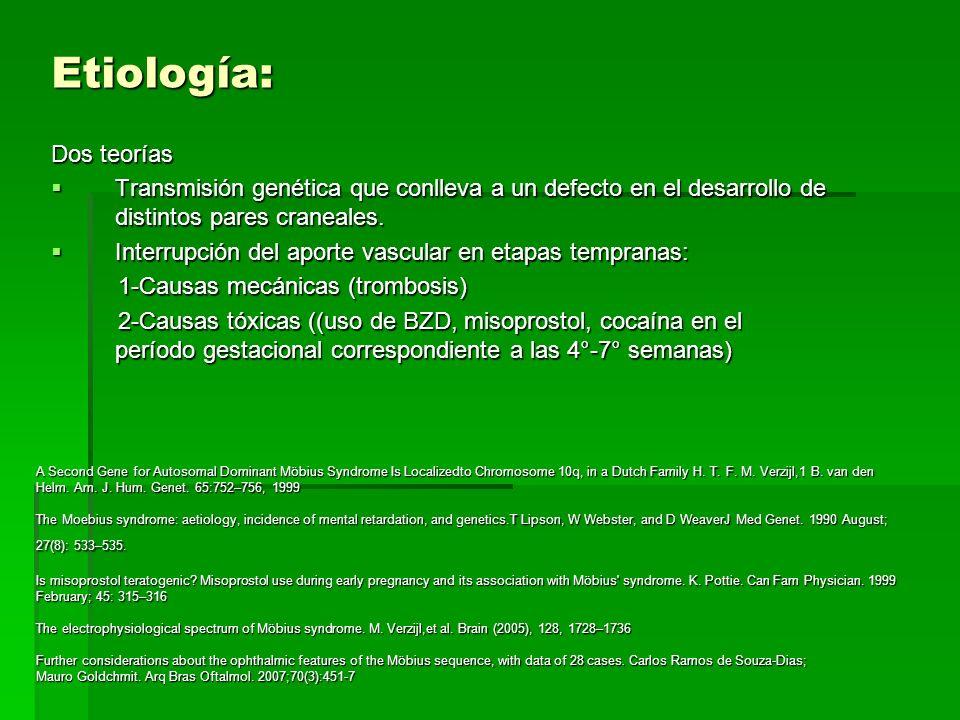 Etiología: Dos teorías Transmisión genética que conlleva a un defecto en el desarrollo de distintos pares craneales. Transmisión genética que conlleva