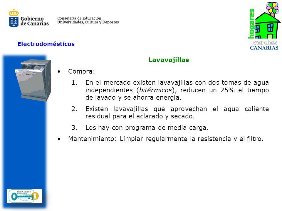 Lavavajillas Compra: 1.En el mercado existen lavavajillas con dos tomas de agua independientes (bitérmicos), reducen un 25% el tiempo de lavado y se a