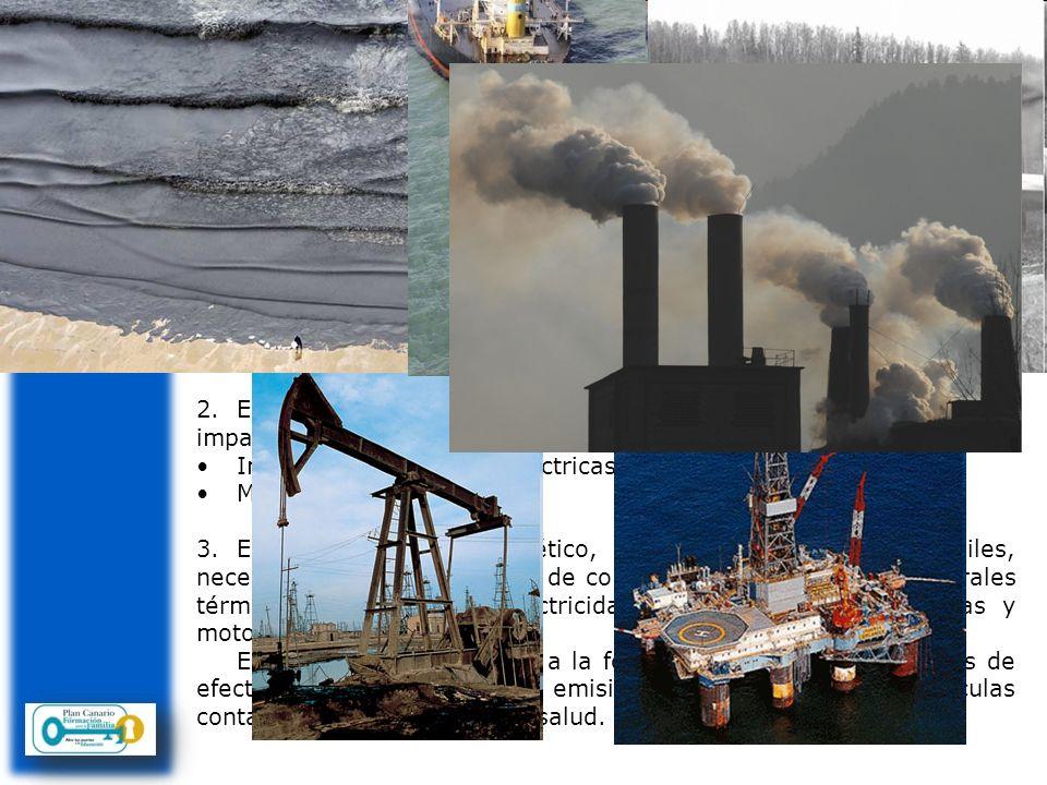 Consecuencias del consumo de energía Impacto negativo sobre el medio ambiente 1.En la extracción de petróleo se producen residuos, contaminación de ag