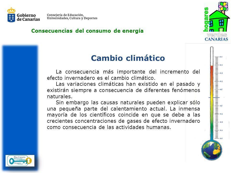 Consecuencias del consumo de energía Cambio climático La consecuencia más importante del incremento del efecto invernadero es el cambio climático. Las
