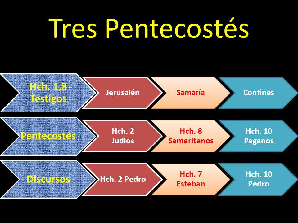 Tres Pentecostés Hch. 1,8 Testigos JerusalénSamaríaConfines Pentecostés Hch. 2 Judíos Hch. 8 Samaritanos Hch. 10 Paganos Discursos Hch. 2 Pedro Hch. 7