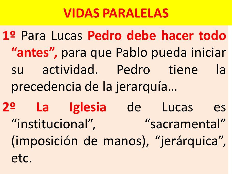 VIDAS PARALELAS 1º Para Lucas Pedro debe hacer todo antes, para que Pablo pueda iniciar su actividad. Pedro tiene la precedencia de la jerarquía… 2º L