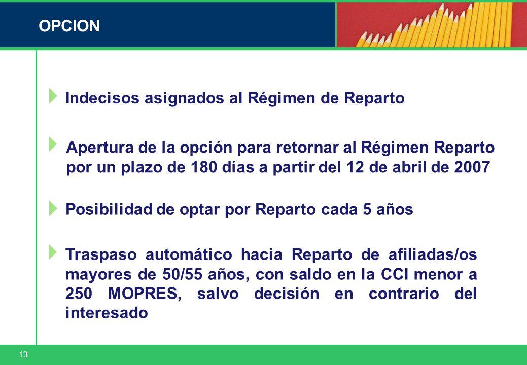 13 OPCION Indecisos asignados al Régimen de Reparto Posibilidad de optar por Reparto cada 5 años Traspaso automático hacia Reparto de afiliadas/os may