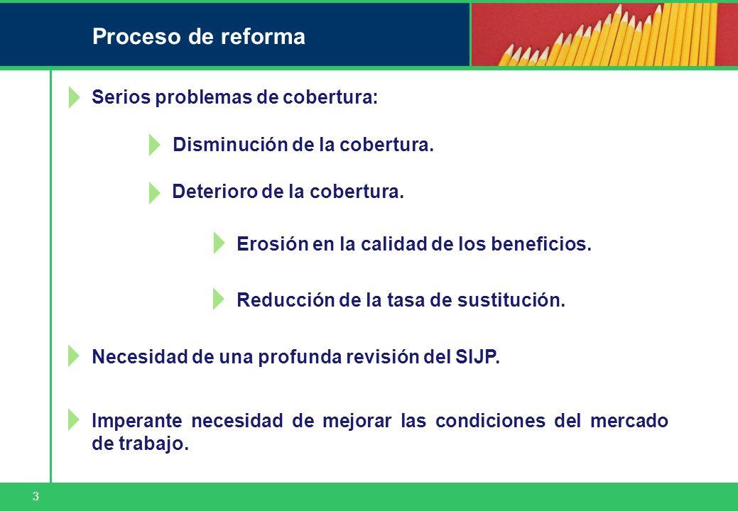3 Proceso de reforma Serios problemas de cobertura: Deterioro de la cobertura. Erosión en la calidad de los beneficios. Necesidad de una profunda revi