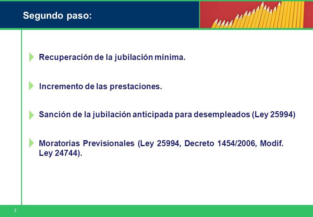 7 Segundo paso: Recuperación de la jubilación mínima. Sanción de la jubilación anticipada para desempleados (Ley 25994) Moratorias Previsionales (Ley