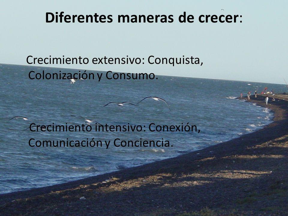 Diferentes maneras de crecer: Crecimiento extensivo: Conquista, Colonización y Consumo. Crecimiento intensivo: Conexión, Comunicación y Conciencia.