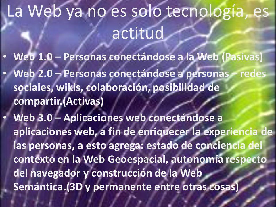 La Web ya no es solo tecnología, es actitud Web 1.0 – Personas conectándose a la Web (Pasivas) Web 2.0 – Personas conectándose a personas – redes soci