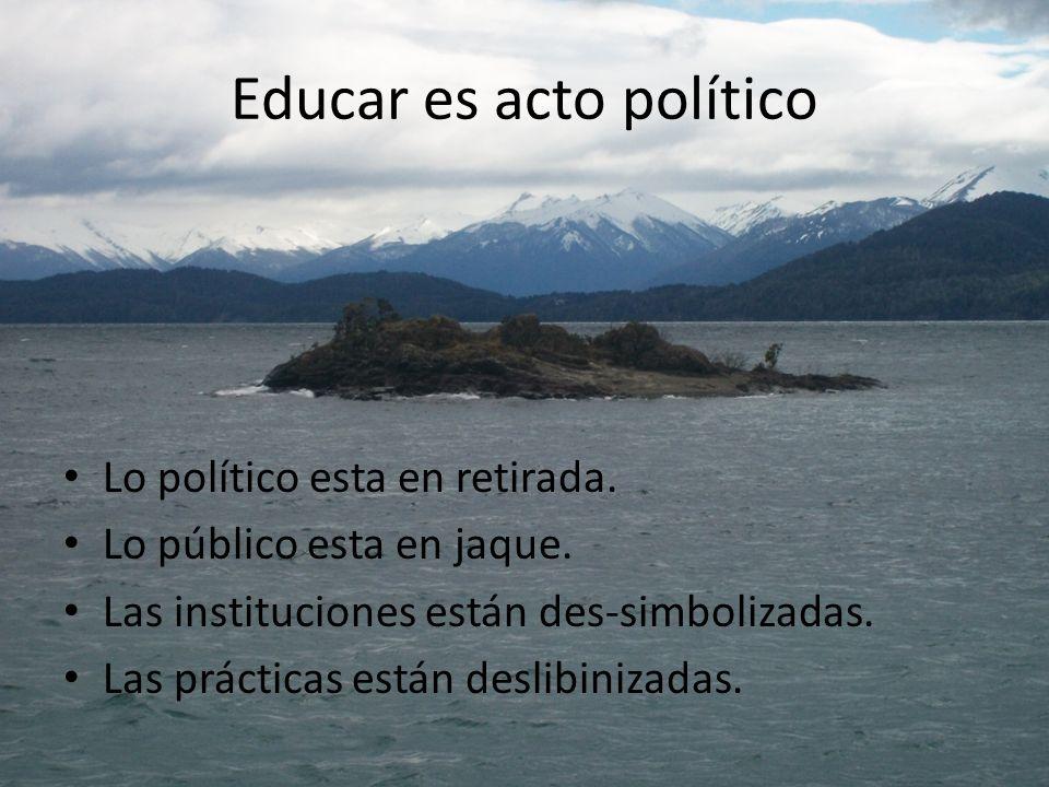 Educar es acto político Lo político esta en retirada. Lo público esta en jaque. Las instituciones están des-simbolizadas. Las prácticas están deslibin