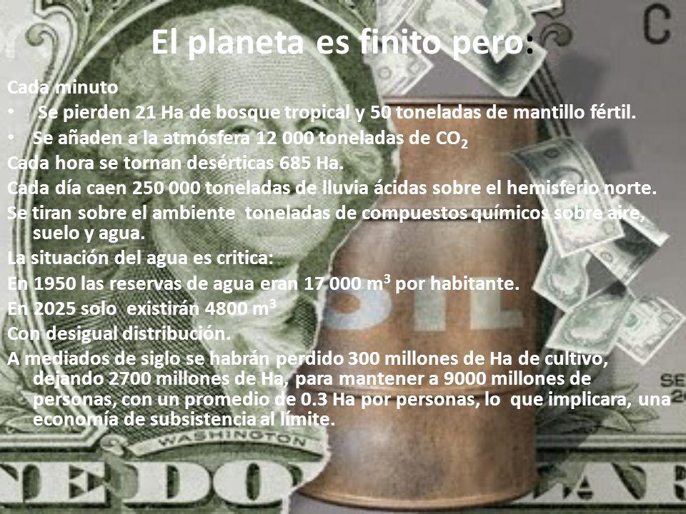 El planeta es finito pero: Cada minuto Se pierden 21 Ha de bosque tropical y 50 toneladas de mantillo fértil. Se añaden a la atmósfera 12 000 tonelada