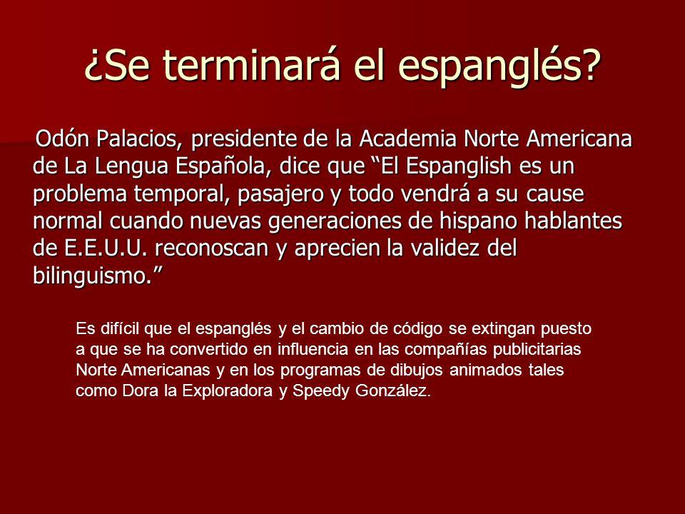 ¿Se terminará el espanglés? Odón Palacios, presidente de la Academia Norte Americana de La Lengua Española, dice que El Espanglish es un problema temp