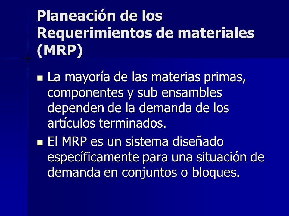 Planeación de los Requerimientos de materiales (MRP) La mayoría de las materias primas, componentes y sub ensambles dependen de la demanda de los artí