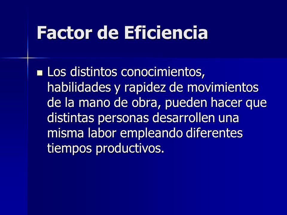Factor de Eficiencia Los distintos conocimientos, habilidades y rapidez de movimientos de la mano de obra, pueden hacer que distintas personas desarro