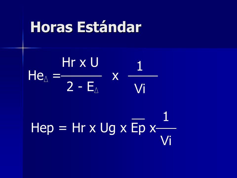 Horas Estándar He = Hr x U 2 - E x 1 Vi Hep = Hr x Ug x Ep x 1 Vi