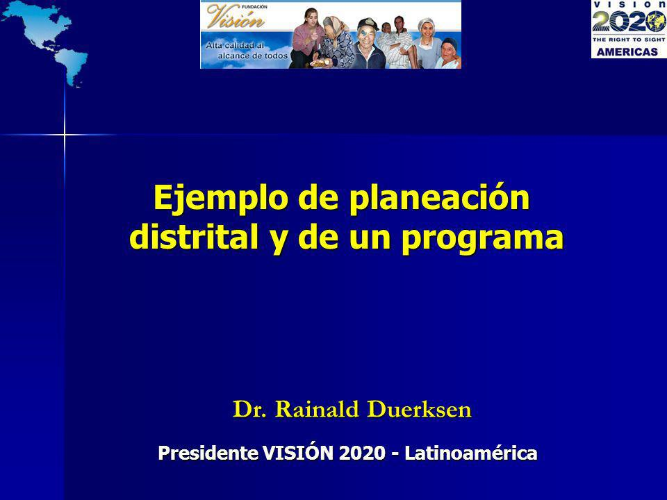 Dr. Rainald Duerksen Dr. Rainald Duerksen Presidente VISIÓN 2020 - Latinoamérica Ejemplo de planeación distrital y de un programa