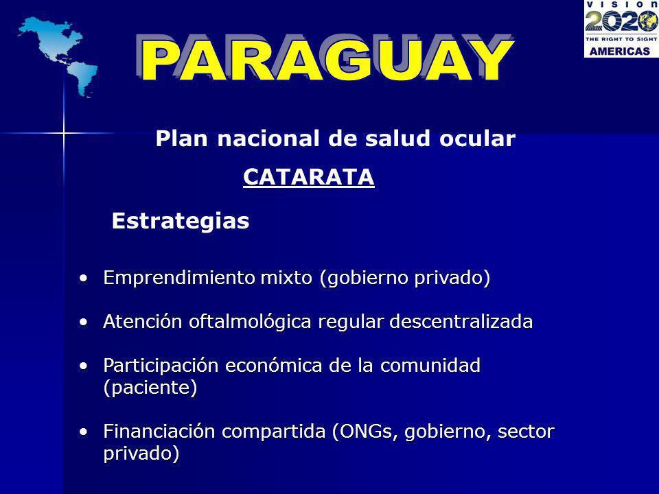 Plan nacional de salud ocular Estrategias CATARATA Emprendimiento mixto (gobierno privado)Emprendimiento mixto (gobierno privado) Atención oftalmológi