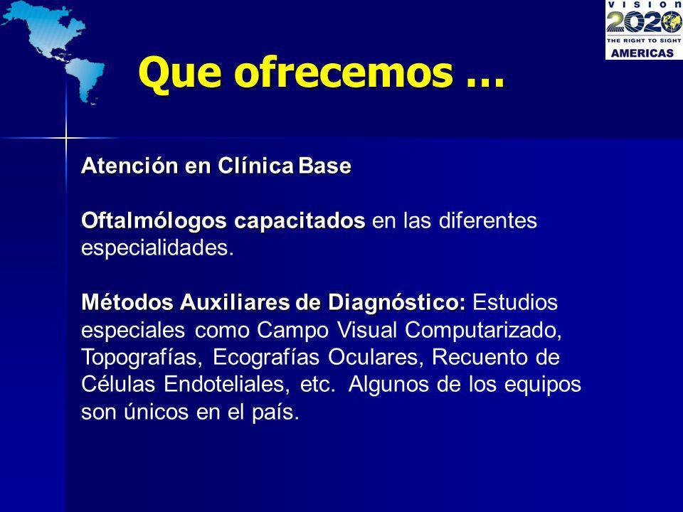 Atención en Clínica Base Oftalmólogos capacitados Oftalmólogos capacitados en las diferentes especialidades. Métodos Auxiliares de Diagnóstico: Método