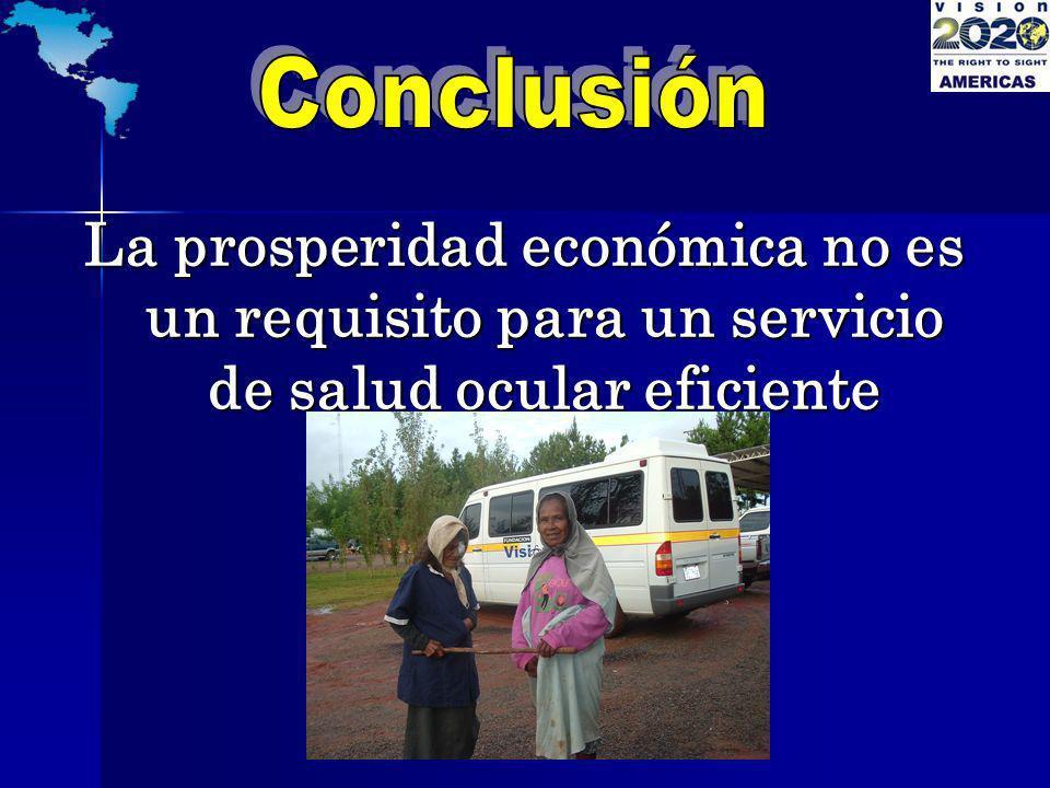 La prosperidad económica no es un requisito para un servicio de salud ocular eficiente