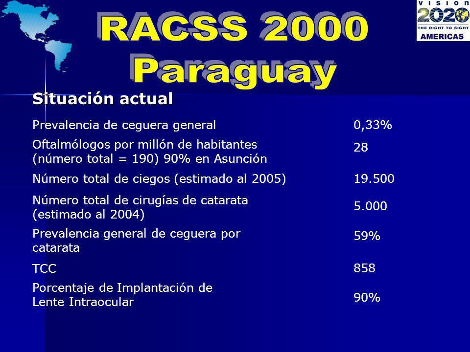Situación actual Prevalencia de ceguera general 0,33% Oftalmólogos por millón de habitantes (número total = 190) 90% en Asunción 28 Número total de ci