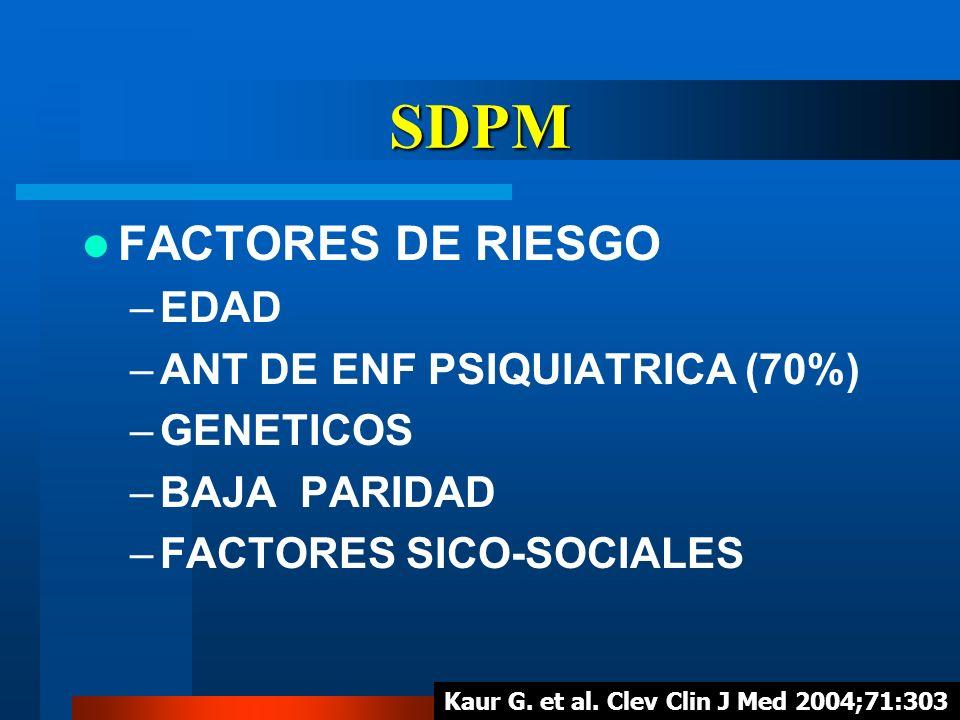 SDPM FACTORES DE RIESGO –EDAD –ANT DE ENF PSIQUIATRICA (70%) –GENETICOS –BAJA PARIDAD –FACTORES SICO-SOCIALES Kaur G. et al. Clev Clin J Med 2004;71:3