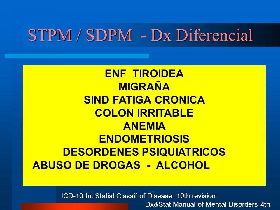 STPM / SDPM - Dx Diferencial ENF TIROIDEA MIGRAÑA SIND FATIGA CRONICA COLON IRRITABLE ANEMIA ENDOMETRIOSIS DESORDENES PSIQUIATRICOS ABUSO DE DROGAS -