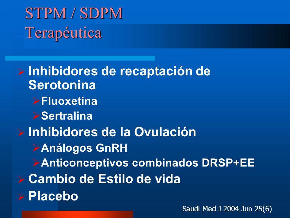 STPM / SDPM Terapéutica Inhibidores de recaptación de Serotonina Fluoxetina Sertralina Inhibidores de la Ovulación Análogos GnRH Anticonceptivos combi