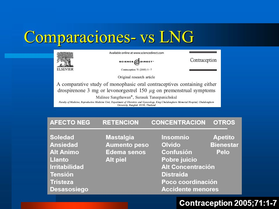 Comparaciones- vs LNG Contraception 2005;71:1-7 AFECTO NEG RETENCION CONCENTRACION OTROS SoledadMastalgiaInsomnio Apetito AnsiedadAumento pesoOlvido B
