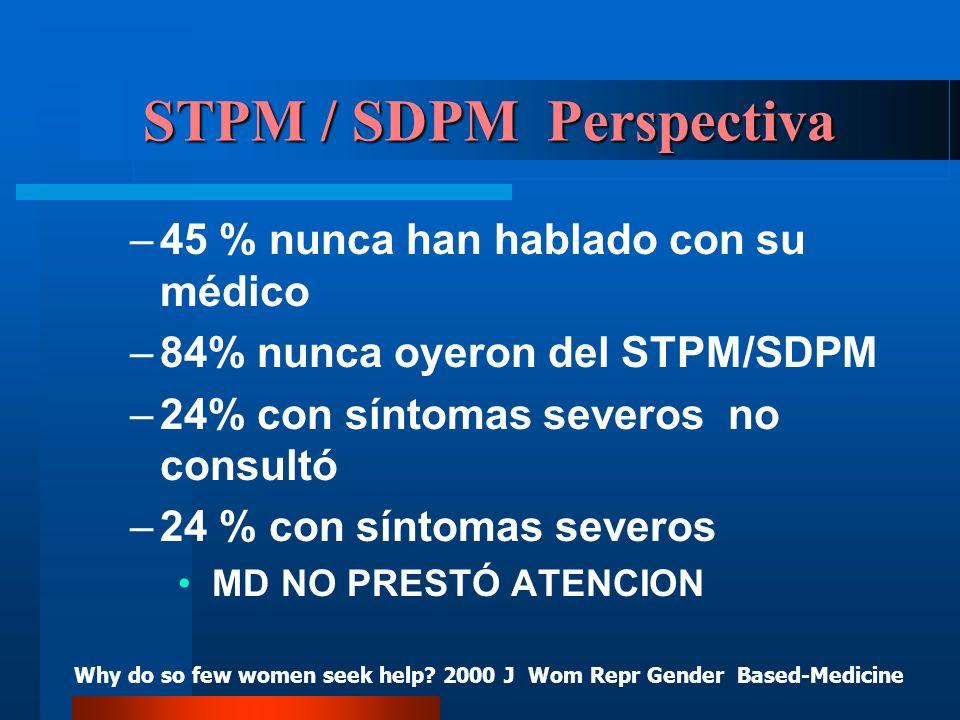 STPM / SDPM Perspectiva –45 % nunca han hablado con su médico –84% nunca oyeron del STPM/SDPM –24% con síntomas severos no consultó –24 % con síntomas