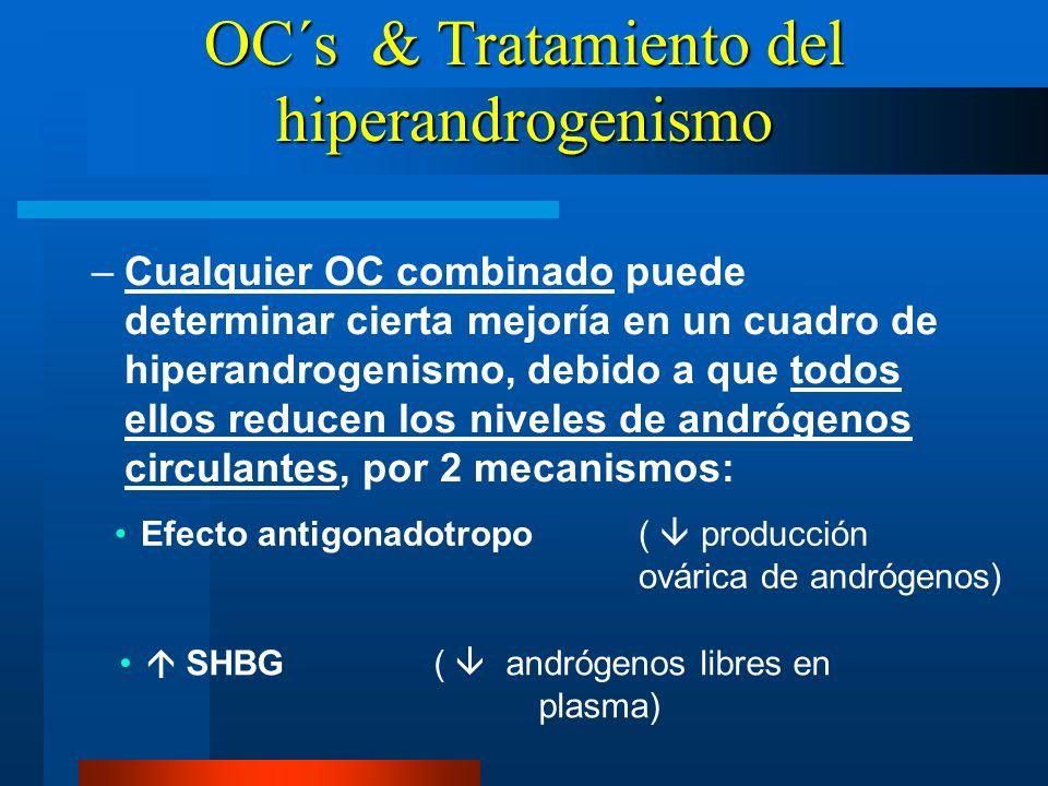 –Cualquier OC combinado puede determinar cierta mejoría en un cuadro de hiperandrogenismo, debido a que todos ellos reducen los niveles de andrógenos