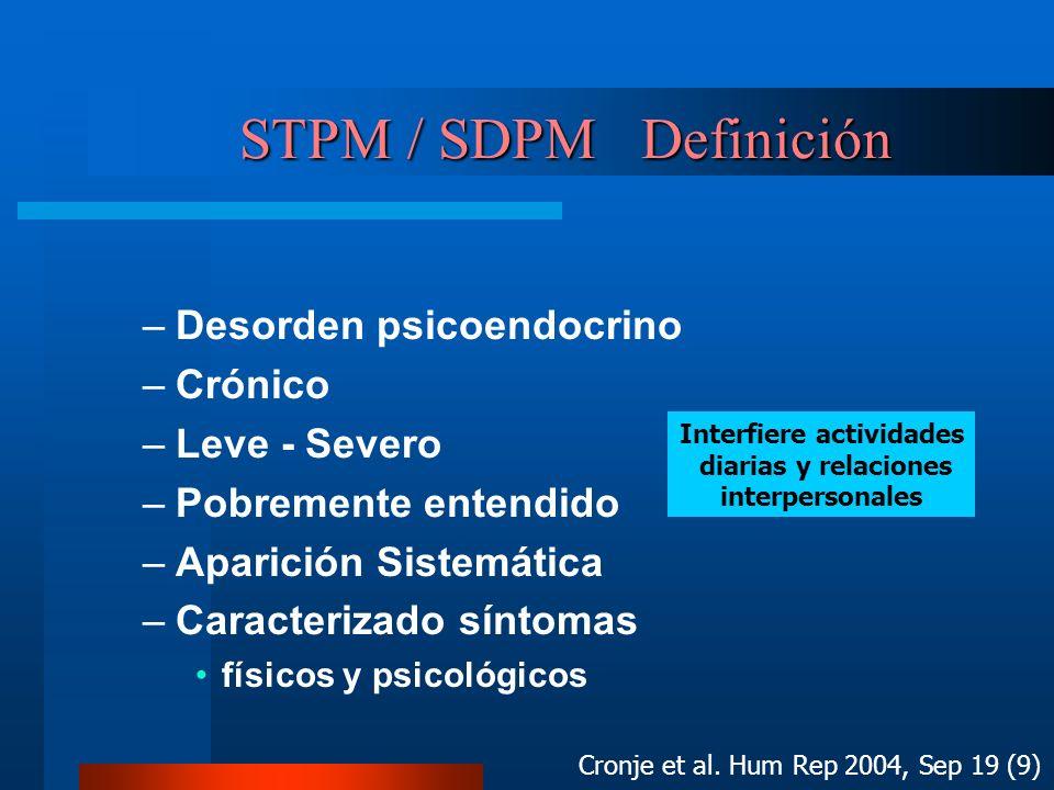 STPM / SDPM Definición STPM / SDPM Definición –Desorden psicoendocrino –Crónico –Leve - Severo –Pobremente entendido –Aparición Sistemática –Caracteri