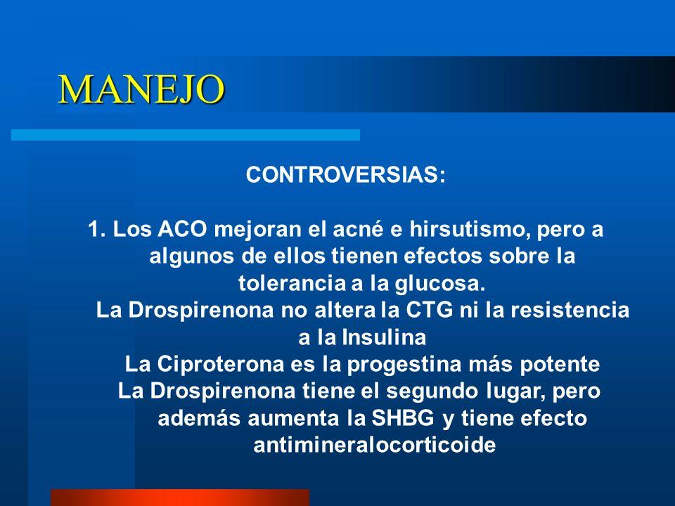 MANEJO CONTROVERSIAS: 1.Los ACO mejoran el acné e hirsutismo, pero a algunos de ellos tienen efectos sobre la tolerancia a la glucosa. La Drospirenona