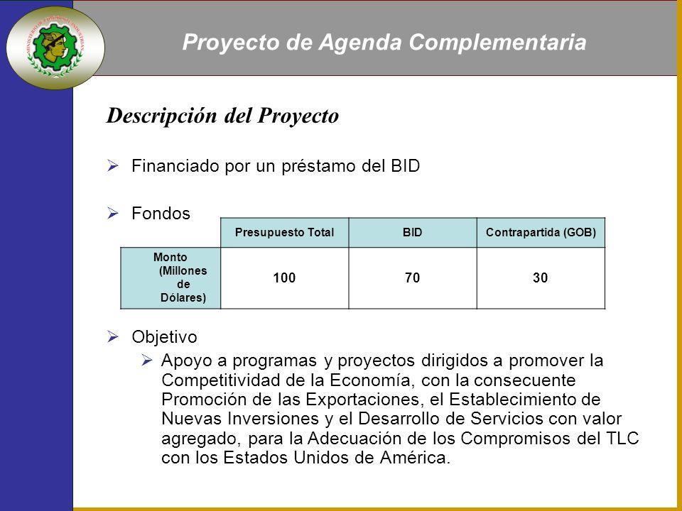 Proyecto de Agenda Complementaria Descripción del Proyecto Financiado por un préstamo del BID Fondos Objetivo Apoyo a programas y proyectos dirigidos a promover la Competitividad de la Economía, con la consecuente Promoción de las Exportaciones, el Establecimiento de Nuevas Inversiones y el Desarrollo de Servicios con valor agregado, para la Adecuación de los Compromisos del TLC con los Estados Unidos de América.