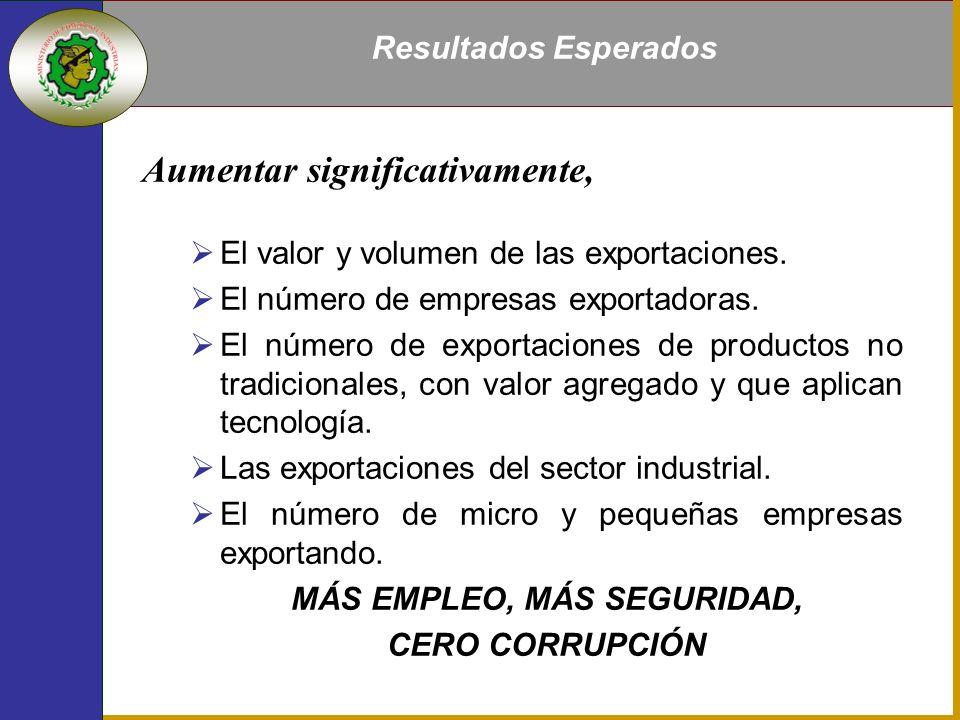 Aumentar significativamente, El valor y volumen de las exportaciones.
