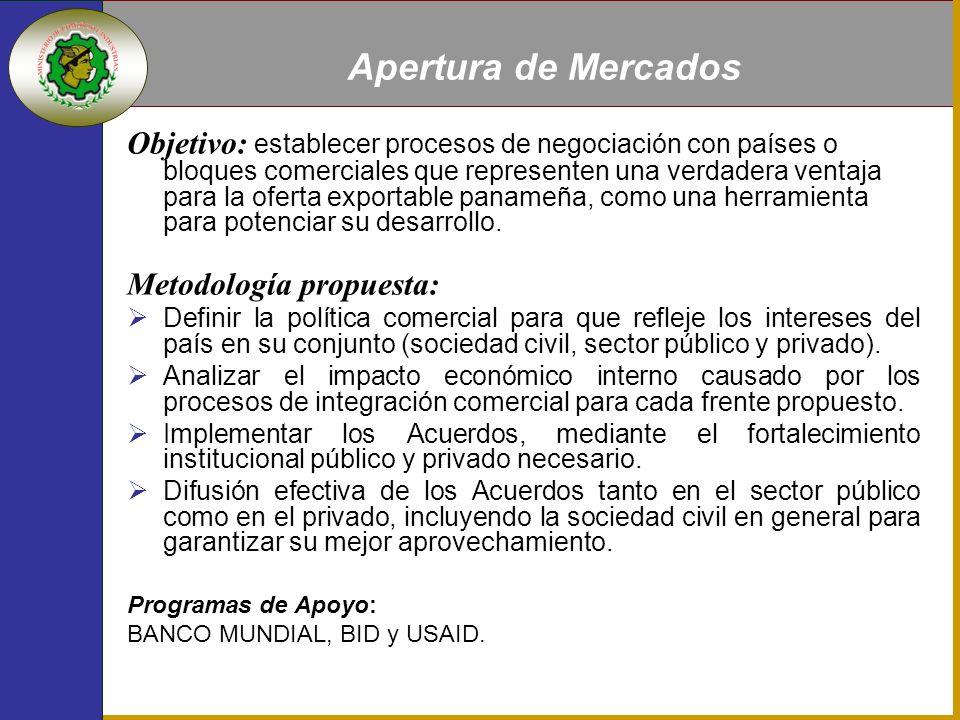 Parámetros: Basada en las Ventajas Competitivas de Panamá, divididas en áreas de focalización específicas y distribuidas en cada provincia de acuerdo a sus potencialidades (Inventario País).