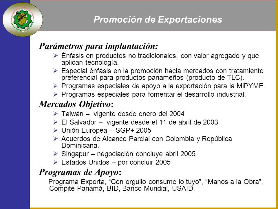Parámetros para implantación: Énfasis en productos no tradicionales, con valor agregado y que aplican tecnología.
