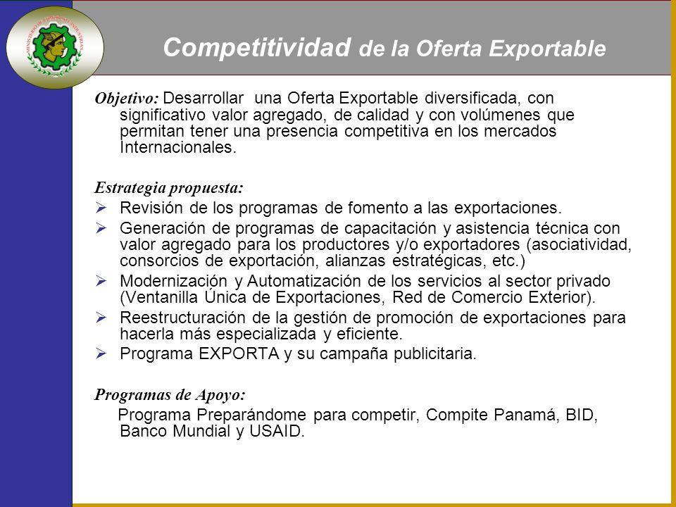 Objetivo: Desarrollar una Oferta Exportable diversificada, con significativo valor agregado, de calidad y con volúmenes que permitan tener una presencia competitiva en los mercados Internacionales.