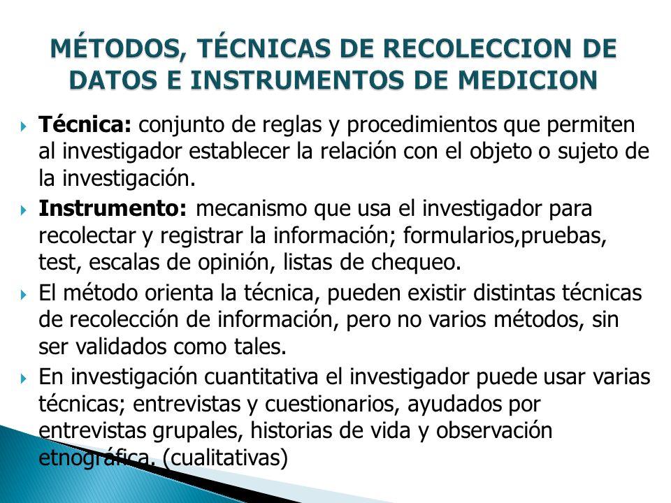 Técnica: conjunto de reglas y procedimientos que permiten al investigador establecer la relación con el objeto o sujeto de la investigación. Instrumen