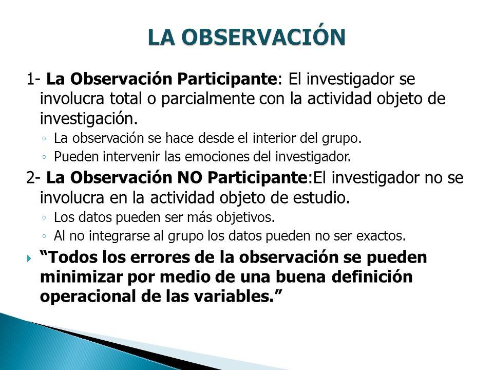 1- La Observación Participante: El investigador se involucra total o parcialmente con la actividad objeto de investigación. La observación se hace des