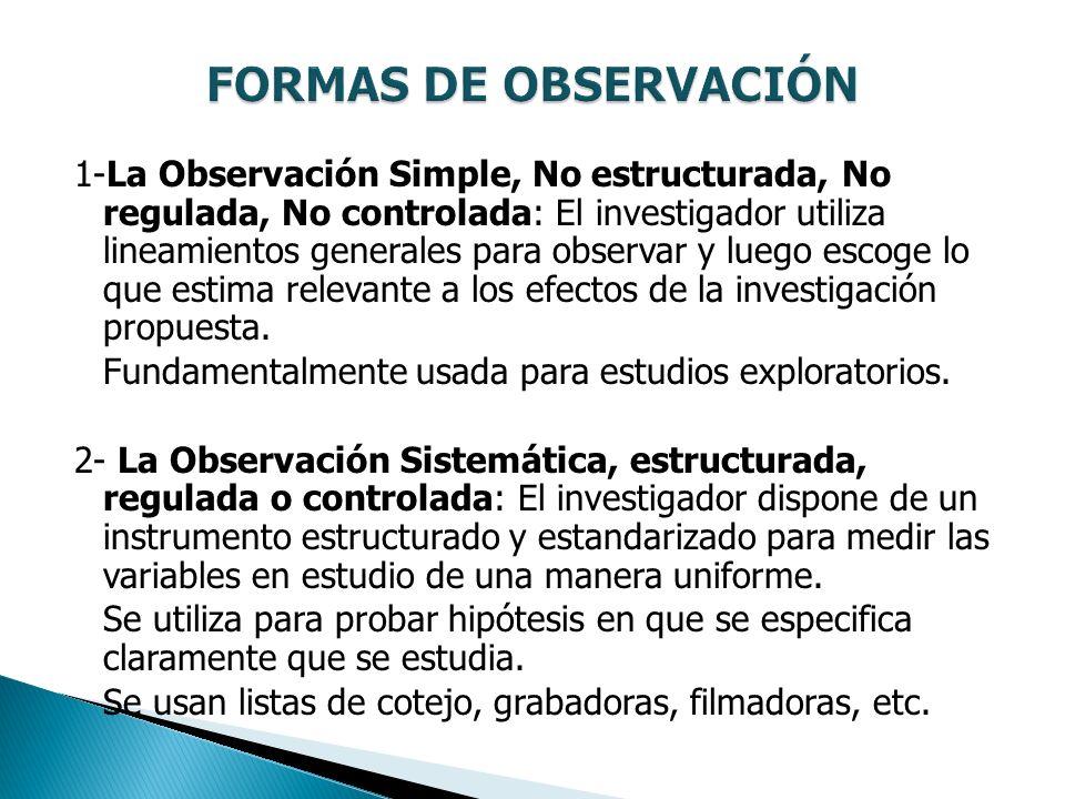 1-La Observación Simple, No estructurada, No regulada, No controlada: El investigador utiliza lineamientos generales para observar y luego escoge lo q