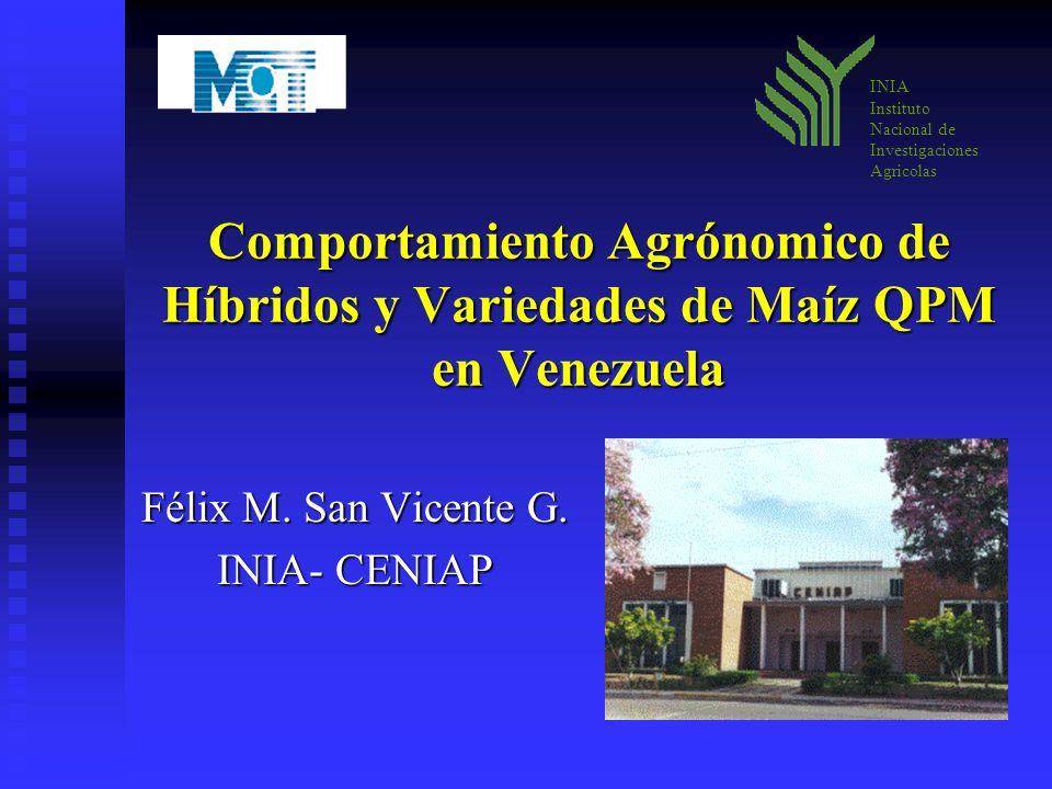 Comportamiento Agrónomico de Híbridos y Variedades de Maíz QPM en Venezuela Félix M. San Vicente G. INIA- CENIAP INIA Instituto Nacional de Investigac