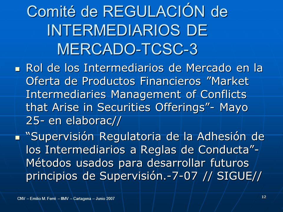 CNV – Emilio M. Ferré – IIMV – Cartagena – Junio 2007 12 Comité de REGULACIÓN de INTERMEDIARIOS DE MERCADO-TCSC-3 Rol de los Intermediarios de Mercado