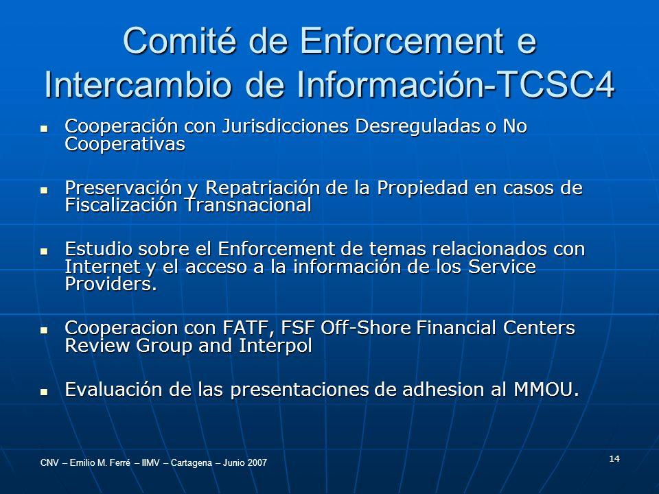 CNV – Emilio M. Ferré – IIMV – Cartagena – Junio 2007 14 Comité de Enforcement e Intercambio de Información-TCSC4 Cooperación con Jurisdicciones Desre