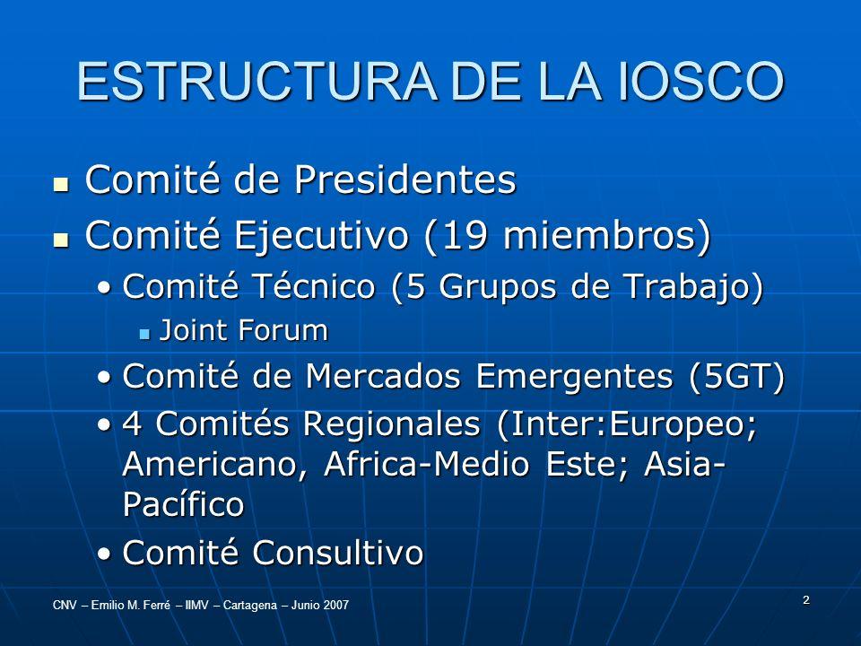 CNV – Emilio M. Ferré – IIMV – Cartagena – Junio 2007 2 ESTRUCTURA DE LA IOSCO Comité de Presidentes Comité de Presidentes Comité Ejecutivo (19 miembr