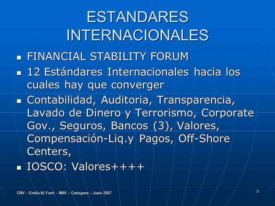 CNV – Emilio M. Ferré – IIMV – Cartagena – Junio 2007 3 ESTANDARES INTERNACIONALES FINANCIAL STABILITY FORUM FINANCIAL STABILITY FORUM 12 Estándares I