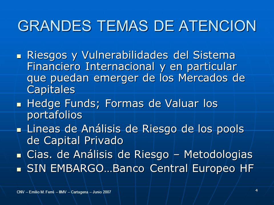CNV – Emilio M. Ferré – IIMV – Cartagena – Junio 2007 4 GRANDES TEMAS DE ATENCION Riesgos y Vulnerabilidades del Sistema Financiero Internacional y en
